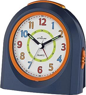 ATRIUM Wecker analog blau/orange ohne Ticken mit Licht und Snooze, Schlummerfunktion..