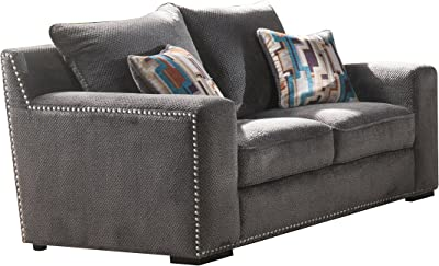 Amazon.com: Campaign 86-Inch Steel Frame Brushed Weave Sofa ...