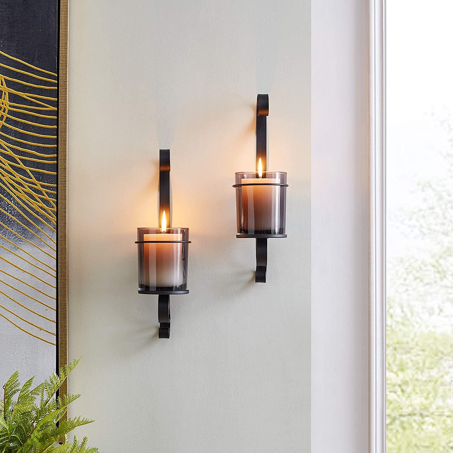 Vintage Black Wall supreme Sconce Candle Holder Smoke Genuine Free Shipping Glass Set 2 with