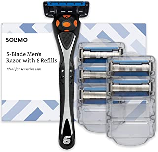 Marca Amazon- Solimo Maquinilla de afeitar de cinco hojas para hombre con 6 recambios