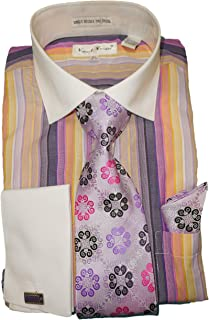 Karl Knox SX4311 Mens Colorful Purple Multi Stripe French Cuff Dress Shirt