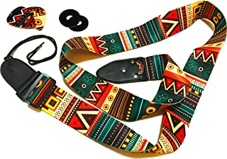 Guitar Strap Vintage Aztec Colors Strap Includes 2 Strap Locks & 2 Unique Picks. Adjustable Polyester Guitar Strap - Suitable For Bass, Electric & Acoustic Guitars. Guitar Gift