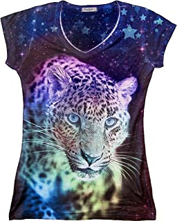Sweet Gisele Colorful 3D Leopard Short Sleeve Womens V Neck T Shirt