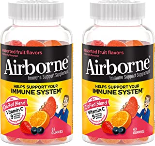 Airborne Vitamin C 750mg (per serving) - Assorted Fruit Gummies (2x63 count in a bottle),...