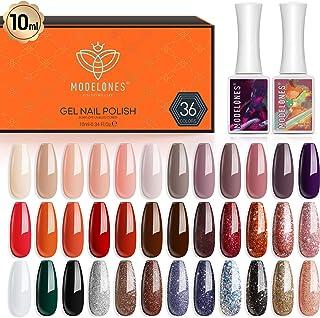 Gel Nail Polish 36 Pcs Colors 10ML Red Glitter Gel Polish Soak Off Gel Nail Kit Nail Art Starter Kit Beauty Gifts Set Box by Modelones