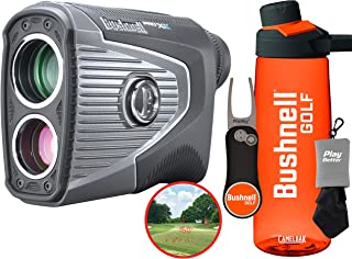 Bushnell Pro XE Golf Laser Rangefinder Gift Set with Bushnell/PlayBetter Water Bottle, Pitchfix Divot Tool & Microfiber Towel Bundle   201950   Magnetic Cart Mount, 500+ Yards, Slope + Elements, OLED