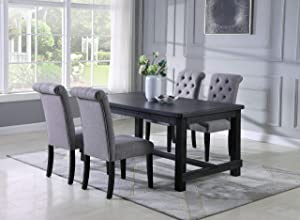 Roundhill Furniture Aneta Antique Black Finished Wood Dining Set, Table with Four Chairs, Gray