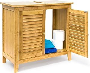 Relaxdays Armario de madera de bambú LAMELL, 60 x 67 x 30 cm de un armario de lavabo robusta y resistente de baño mueble de baño para lavabo o los de lavabo de madera