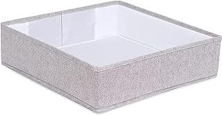 Internet's Best Collapsible Under the Bed Storage Bin | Square | Short Closet Shelf Open Storage | Rigid Frame Canvas Container