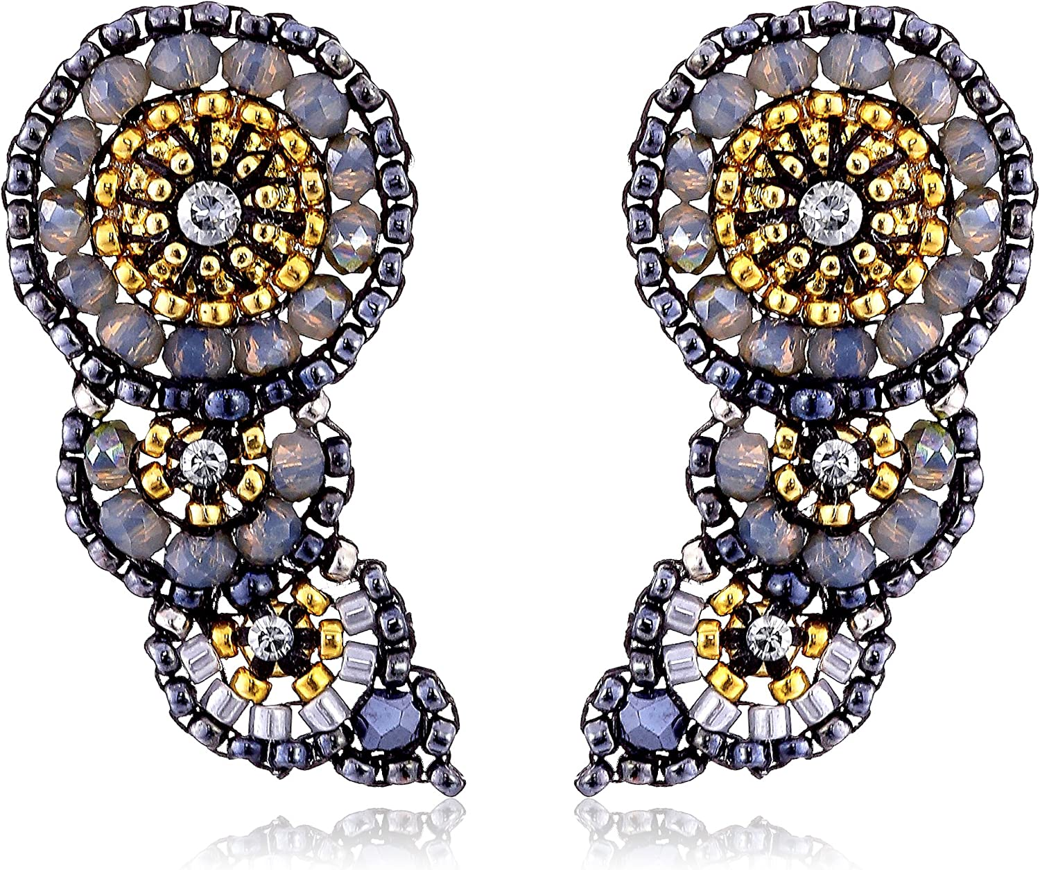 Miguel Ases Hematite and Swarovski Curved Crawler Stud Earrings