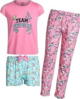 Girls' Sleepwear Pajama 3 Piece Set with Tee, Shorts, and Pants