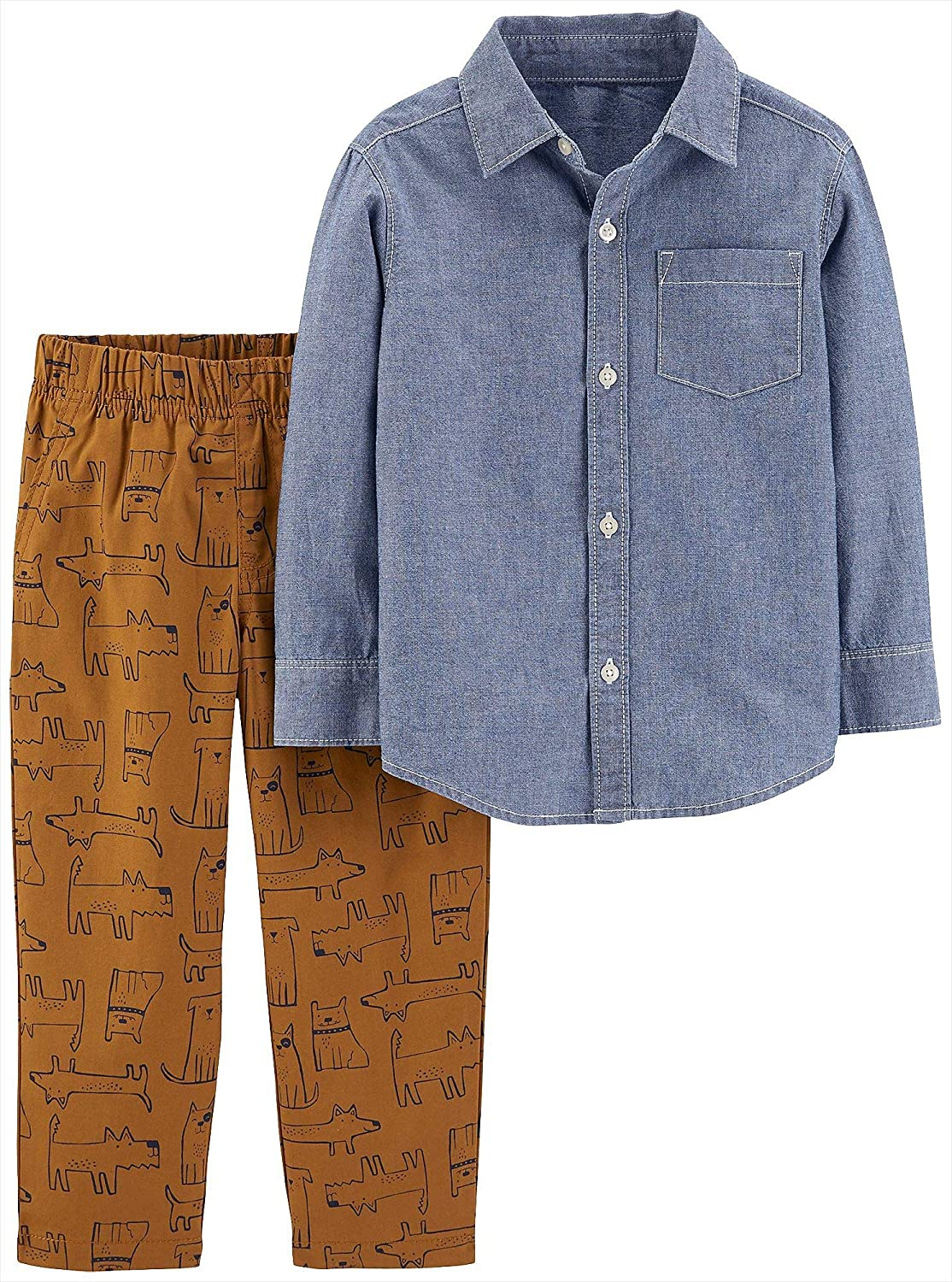 Carter's Baby Boy's 2-Piece Button Front Shirt and Pants Set