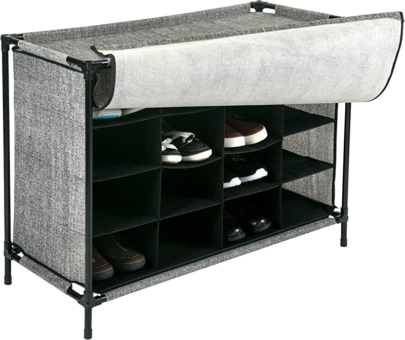 Simplify 16 Pair Stackable Shoe Rack Organizer With Cover For Closet Bedroom Entryway Black