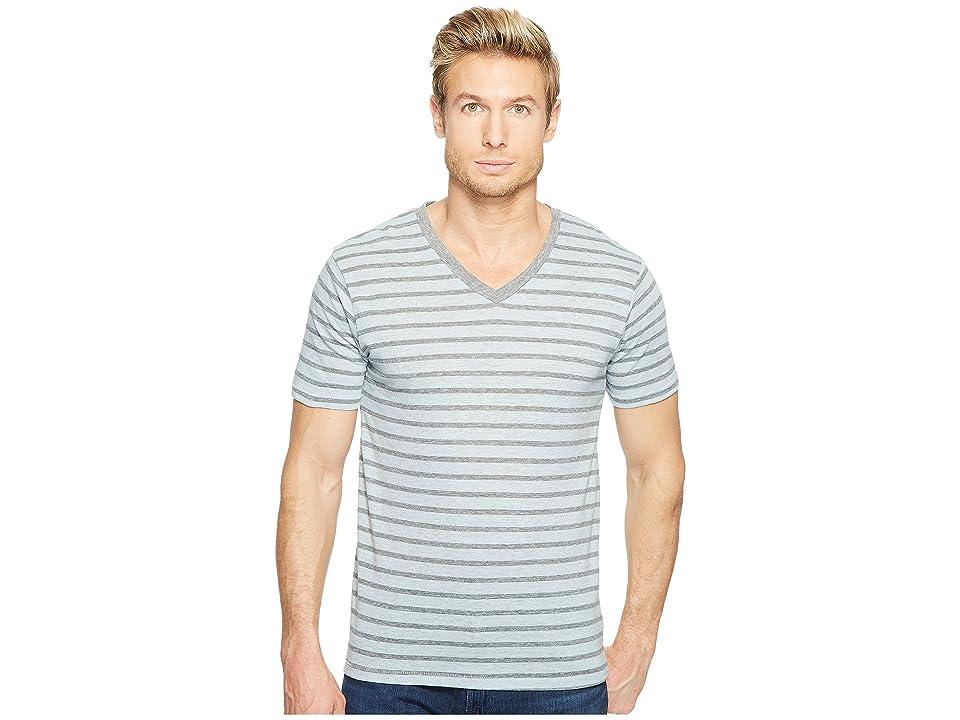 Image of Alternative Boss V-Neck (Mist Blue Overdye Riviera Stripe) Men's Clothing