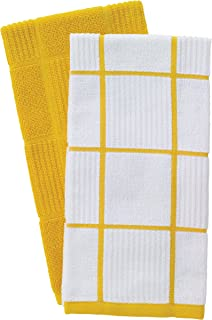T-Fal Textiles 60943 2-Pack Solid & Check Parquet Design 100-Percent Cotton Kitchen Dish Towel, Lemon, Solid/Check-2 Pack