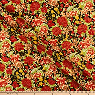 The Textile Pantry The Summer Palace Metallic Floral Black/Red Fabric