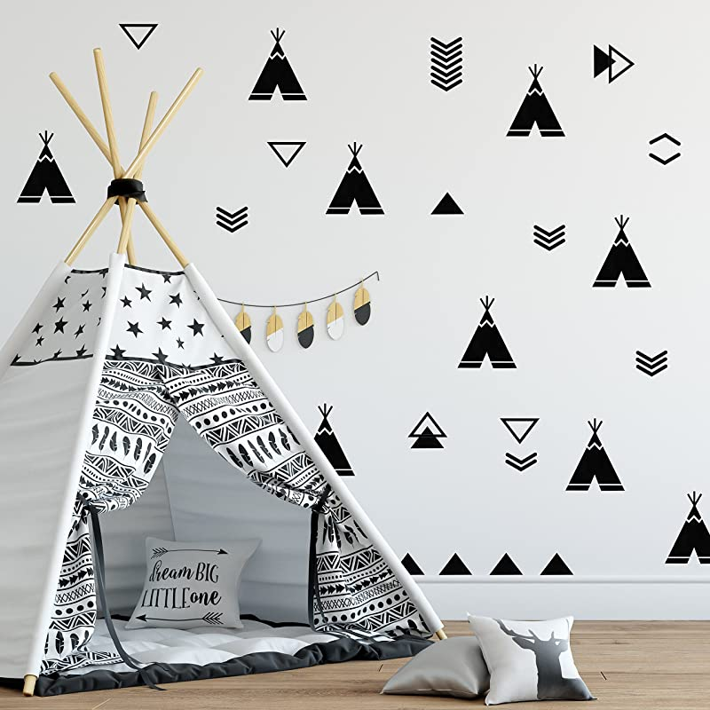 The Boho Design Tents Wall Vinyl Decal Tent Sticker Nursery Adhesive Tribal TeePees For Kids Baby Nordic Bedroom Decoration