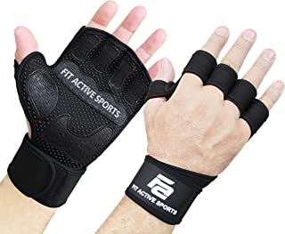 Fit Active Sports The Gripper Weight Lifting Gloves with Wrist Wraps - Extra Grip & Padding for Lifting, Gym Workout, Cross Training Fitness, Weightlifting. for Men & Women. No Calluses