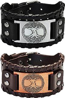 SAILIMUE 2Pcs Viking Bracelet for Men Punk Wide Leather Cuff Bracelet Viking Jewelry Men Nordic Bracelet with Runic Compas...