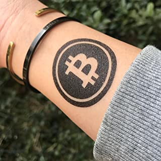 98d32ae37 Bitcoin Dollar Sign Temporary Fake Tattoo Sticker (Set of 2) - www.ohmytat