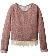 Lucky Brand Kids - Popover Top with Lace Trim and Lurex Detail (Big Kids)