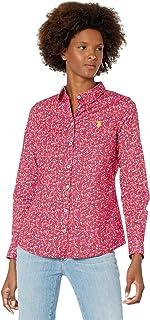 Long Sleeve Floral Print Stretch Poplin Shirt