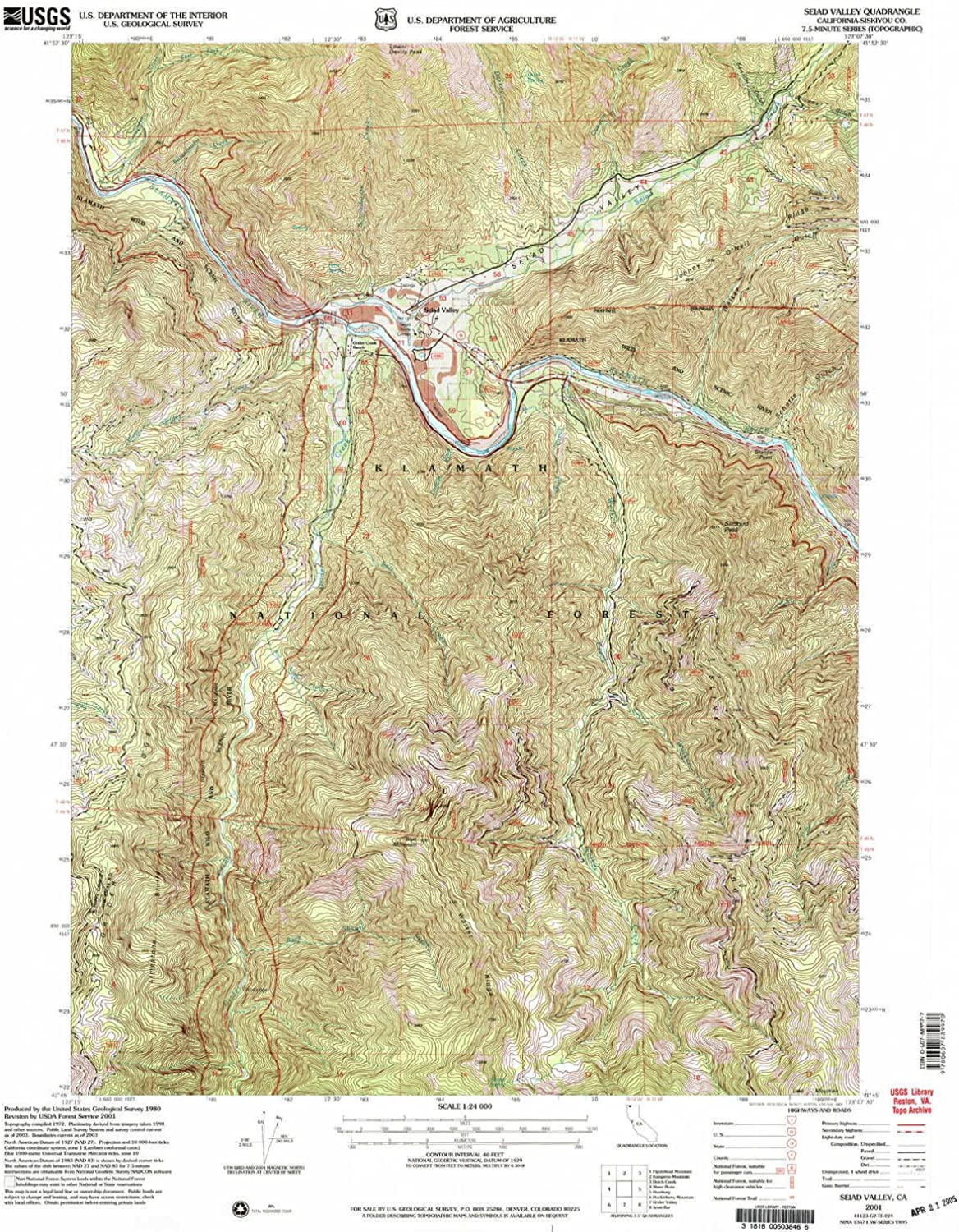 Seiad Valley CA topo map, 1 24000 Scale, 7.5 X 7.5 Minute, Historical, 2001, Updated 2004, 26.8 x 21.9 in