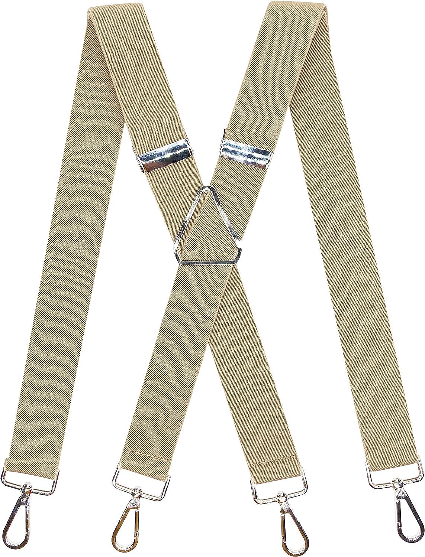 Men's Solid Color X-Back Suspenders 1.4''Heavy Duty Braces&4 Hooks on Belt Loops