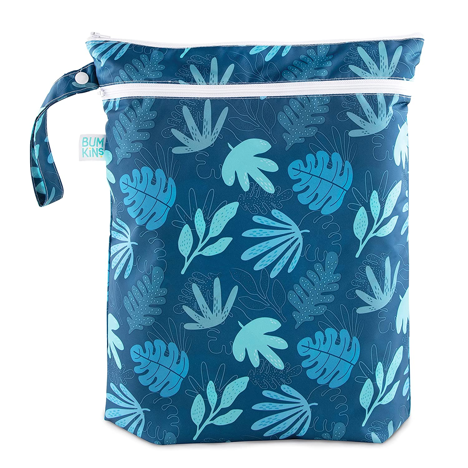 Bumkins Waterproof Wet Bag/Dry Bag, Washable, Reusable for Travel, Beach, Pool, Stroller, Diapers, Dirty Gym Clothes, Wet Swimsuits, Toiletries, 12.5 x 14 – Blue Tropic
