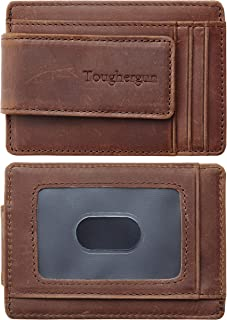 Genuine Leather Magnetic Front Pocket Money Clip Wallet RFID Blocking
