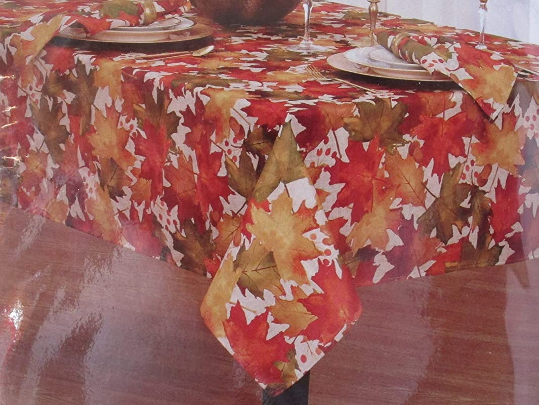 Home Fashions Autumn Harvest Polyester Printed Tablecloth Fallen Maple Leaves 60 X 102