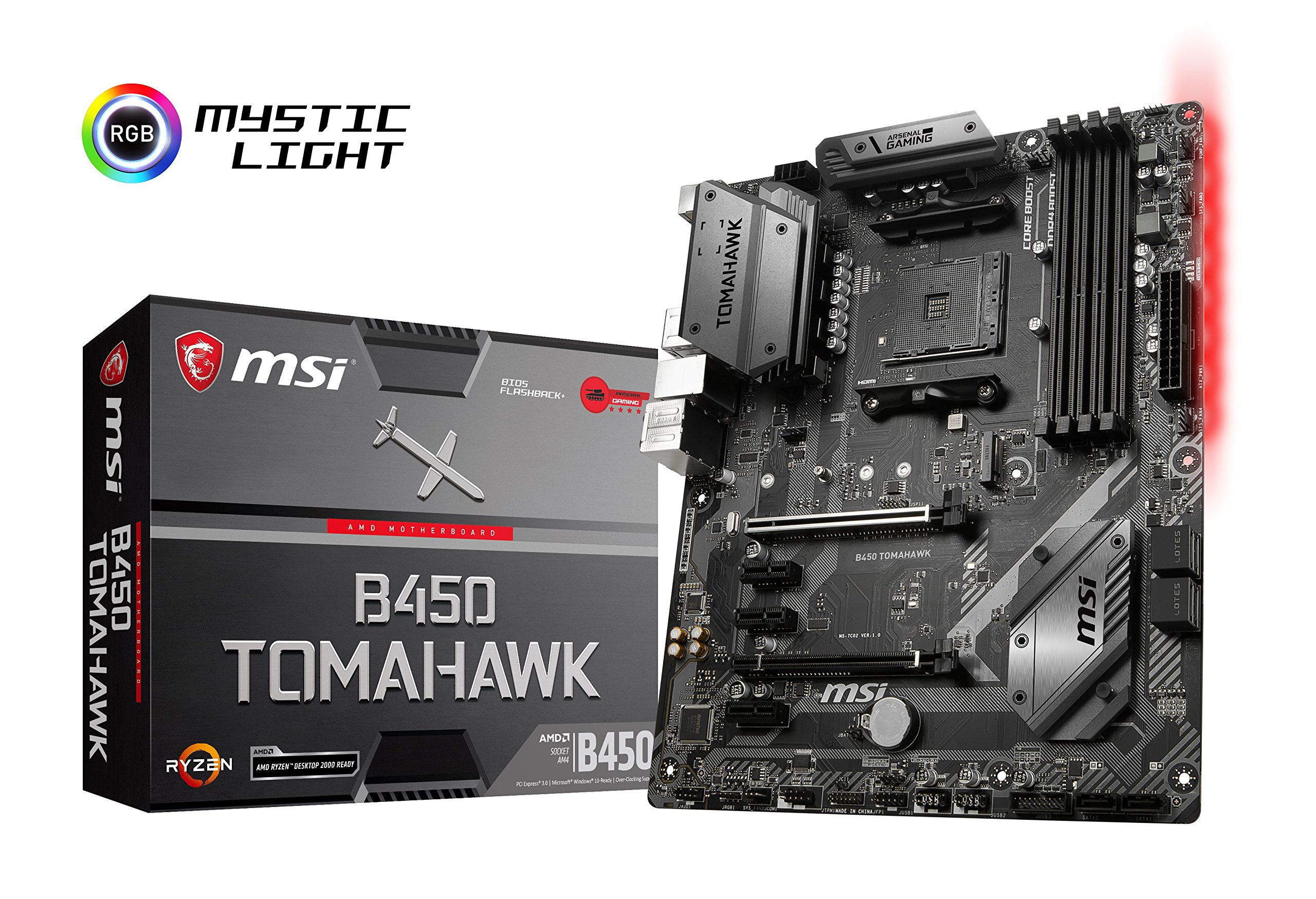 Pack placa base + procesador - Placa base MSI B450 Tomahawk (AM4, AMD B450, DDR4, HMDI), y procesador AMD Ryzen 5 2600X (19 MB, 6 núcleos, 4.25 GhZ, 95 W): Amazon.es: Informática