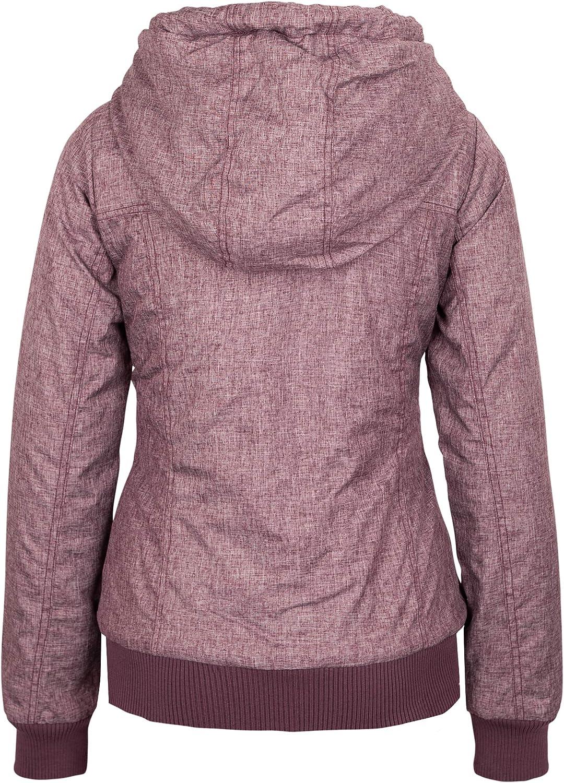 Sublevel Damen Winter-Jacke mit Kapuze warm gefüttert Dark-rose