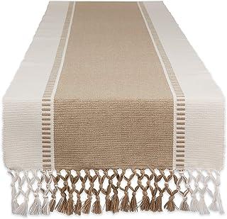DII Dobby Stripe Woven Table Runner, 13x108, Stone