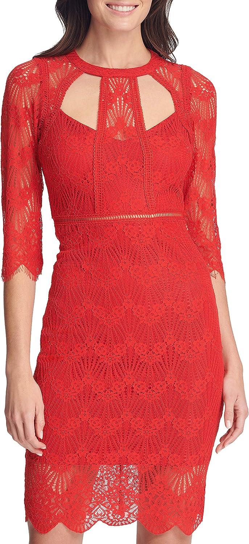 GUESS Women's Three-Quarter Sleeve Cut-Out Lace Sheath Dress