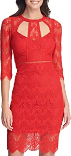 GUESS Women's Three-Quarter Sleeve Cut-Out Lace Sheath Dress