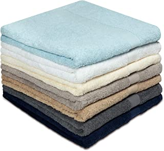 Cotton Craft - 7 Pack Multi Color Bath Towels- 100% Ringspun Cotton- 27 x 52 inches –Light Weight 450 Grams– Quick Drying & Absorbent- Colors - Ivory, Light Blue, White, Linen, Mercury, Charcoal, Navy