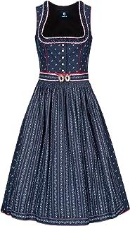 Almbock Midi Dirndl - Trachtenkleider 100% Baumwolle Made in Germany - Traditionelles Dirndl in dunkelblau in den Größen 34-44