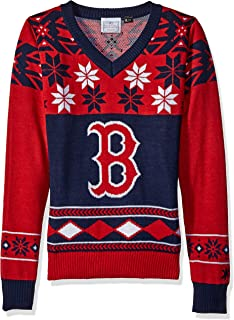 Boston Red Sox Womens Big Logo V-Neck Sweater Small