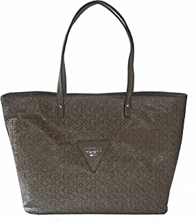 Guess Signature Embossed Liberate Tote Bag Handbag Purse Taupe