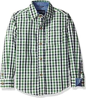 Nautica Little Boys' Stern Plaid Long Sleeve Woven Shirt, Ivory, Large/7