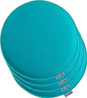 Brandsseller Cojín de fieltro redondo para silla, acolchado, diámetro de 35 cm, 4 unidades, color turquesa