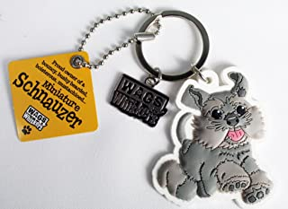Wags and Whiskers Miniature Schnauzers Key Chain with Keyring/Key Holder (886767111902)