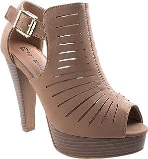 dca84b930d8 Top Moda Women s Table-6 Peep Toe Gladiator Bootie Platform Sandal Chunky  Heel Closed Back