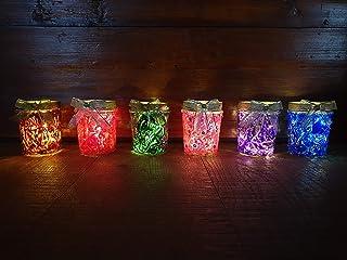 Vasetti illuminati Luce Led, Portacandela senza Luce LED colori brillanti rosso verde blu viola fucsia marrone brillantini...