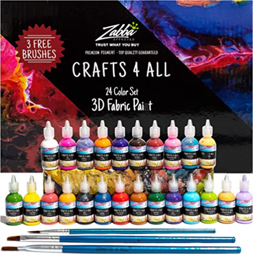 Fabric Paint 3D Permanent 24 Colors Set Premium Quality Vibrant Color Textile Paints Dye For Fabric, Canvas, Wood, Ce...