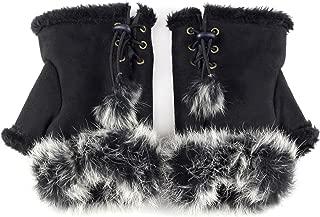 Women Teen Classic Winter Warm Rabbit Fur Hands Wrist Fingerless Gloves