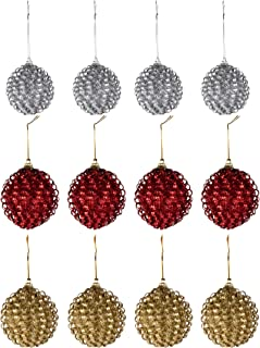Juvale 12-Pack Christmas Tree Ornaments - Glitter Red, Gold, Silver Shatterproof Large Christmas Balls Decoration, Glitter Wire Design, Hanging Plastic Bauble Decor, 2.8 Inches