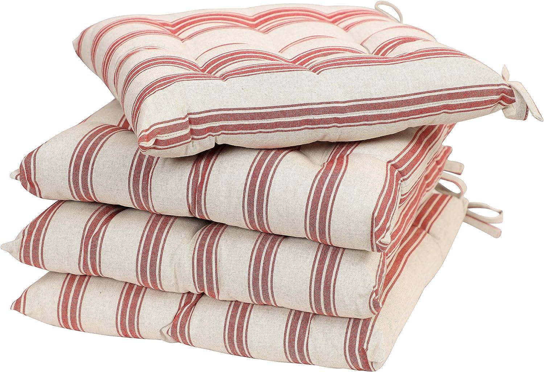 Dibor - Wende-Sitzkissen, Baumwolle, Rot Rot Rot Weiß gestreift B07N11KXBC bd6165