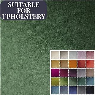 McAlister Textiles Matt Velvet | Moss Green Upholstery Fabric DIY Crafting Material | Fabric Swatch 3x7 Inches